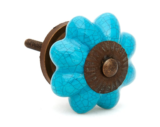 Turquoise Crackle Ceramic Knobs Pulls, Dresser Drawer, Cabinet or Door Knob Pull