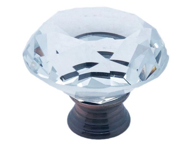 "Clear Faceted Crystal Glass Diamond Cut 1.5"", DARK Metal Base Drawer, Door, Cabinet or Dresser Knob Pull - C1dark"