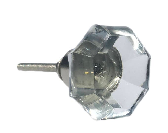 Clear Octagon Glass Decorative Dresser Drawer, Cabinet, Door or Furniture Knob Pull