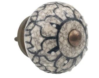 Gray Ceramic Floral Black Design Embossed Knob, Drawer Pull, Cabinet Pull, Dresser Knob
