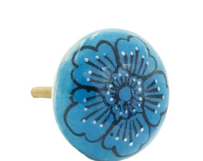 Sky Blue Flower Flat Ceramic Decorative Drawer, Door or Cabinet Pull Knob