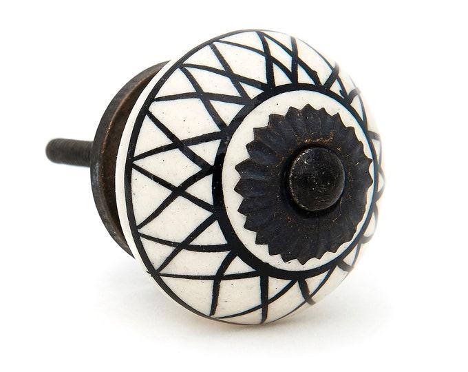 Black Lines Pattern Decorative Knob Pull for Drawer, Dresser, Cabinet or Door  - Pack of 12 Knobs - M331a