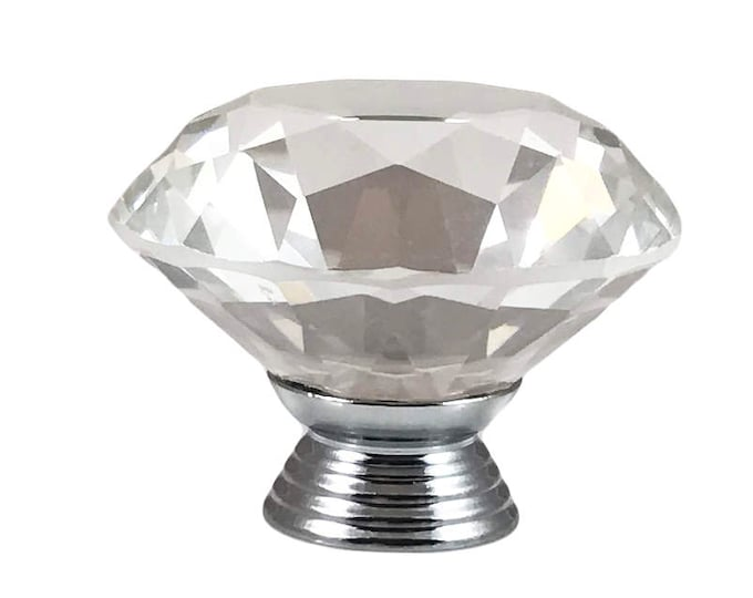 "Clear Faceted Crystal Glass Diamond Cut 1.5"", Drawer, Door, Cabinet or Dresser Knob Pull"