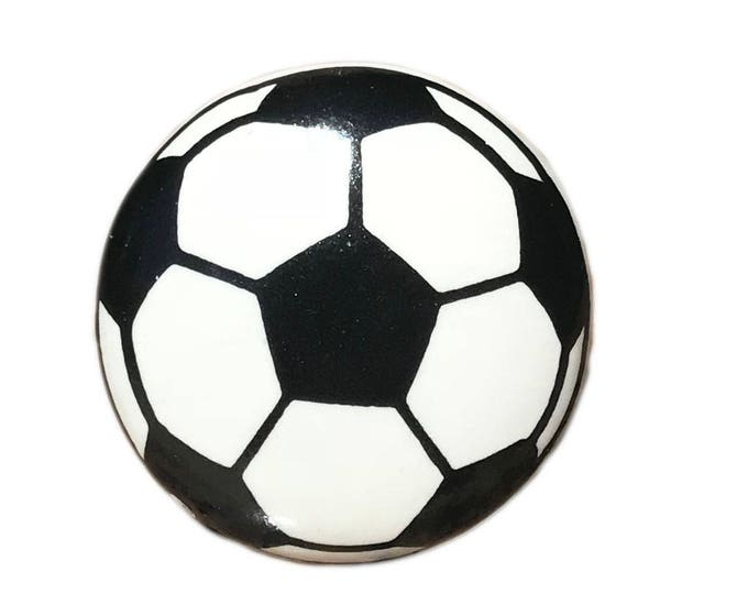 Soccer Ball Ceramic Round Drawer Pull, Cabinet Pull, Dresser Knob - i5