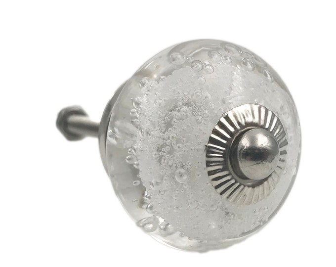 Clear Glass Bubbles Dresser Knob, Cabinet or Drawer Knob. Bolt is removable. Chrome Hardware