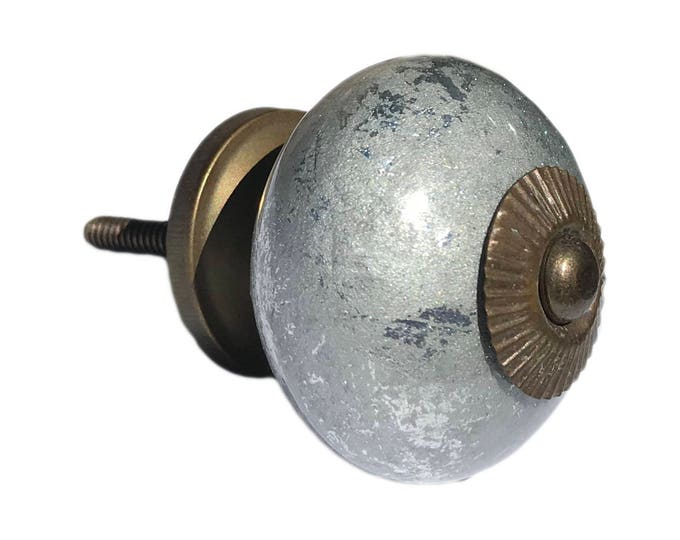 Silver Shiny Ceramic Round Knob, Cabinet Pulls, Dresser Knobs, Drawer Pulls