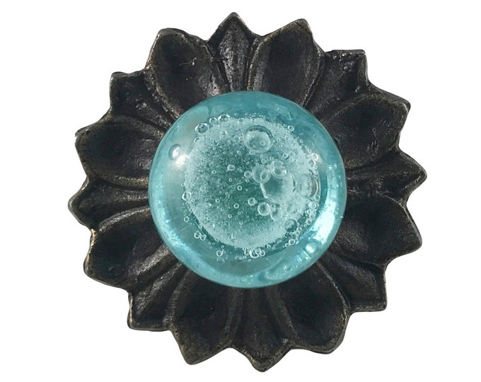 Aqua Blue Glass Knob with Metal Backplate Drawer Pull, Dresser Knob - G10BP1