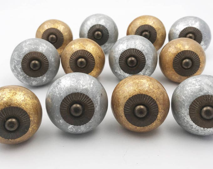 Gold and Silver Sparkly Ceramic Knobs for Cabinets, Doors & Furniture - 12 PACK