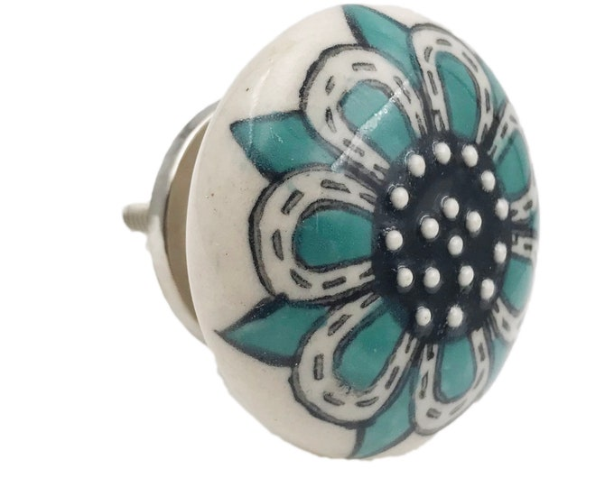 Teal Embossed Flat Knob for Drawers, Cabinets, Doors, Furniture - M29