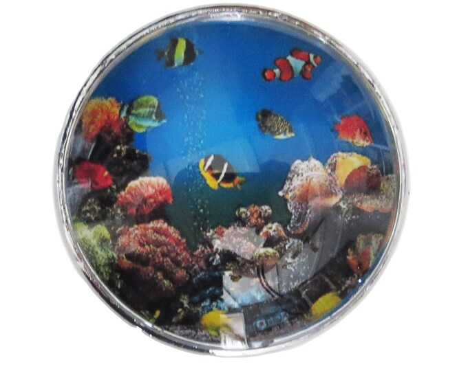 Ocean Fish Glass Knob with Metal Base for Dresser Drawers, Cabinet Drawers, Kitchen Cabinets - W4