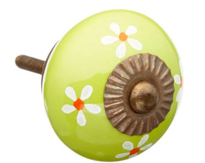 Lime Green & White Flowers Decorative Ceramic Drawer, Cabinet or Door Pull Knob