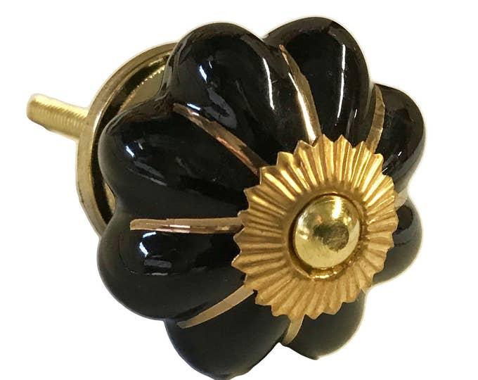 Black with Gold Trim ceramic knob, dresser knob, drawer knobs, cabinet pull, door pull