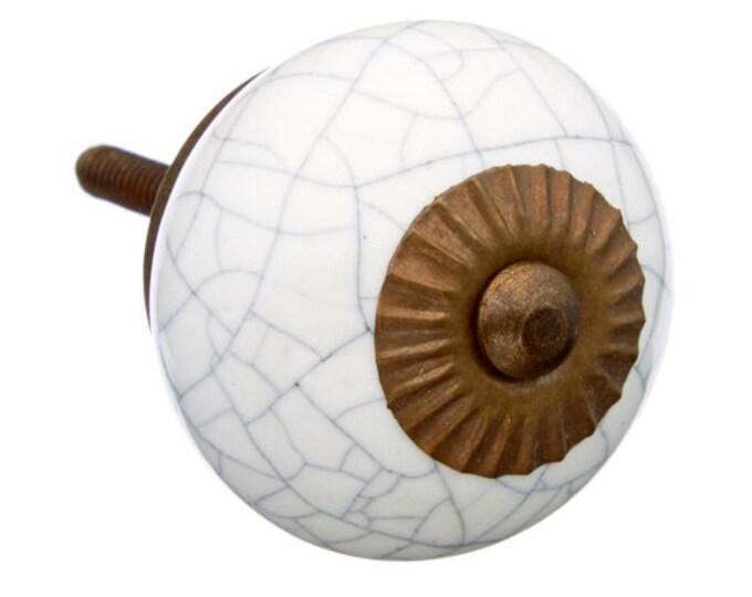 White Crackle Round Ceramic Knob Pull for Dressers, Desks, Kitchen, Bathroom