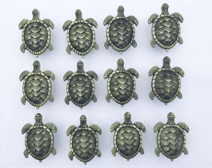 Ocean Turtles Metal Dresser Drawer, Cabinet Drawer or Door Knob Pull - W1-12Pack