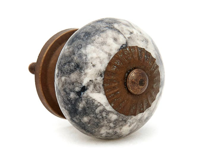 Black Shadow Marble Looking Ceramic Knob Pull for Dresser, Cabinet, Drawer or Door - i542