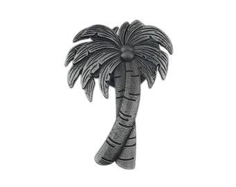 Palm Tree Gray Metal Dresser Drawer, Cabinet Drawer or Door Knob Pull - W65