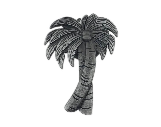 Palm Tree Gray Metal Dresser Drawer, Cabinet Drawer or Door Knob Pull - W65