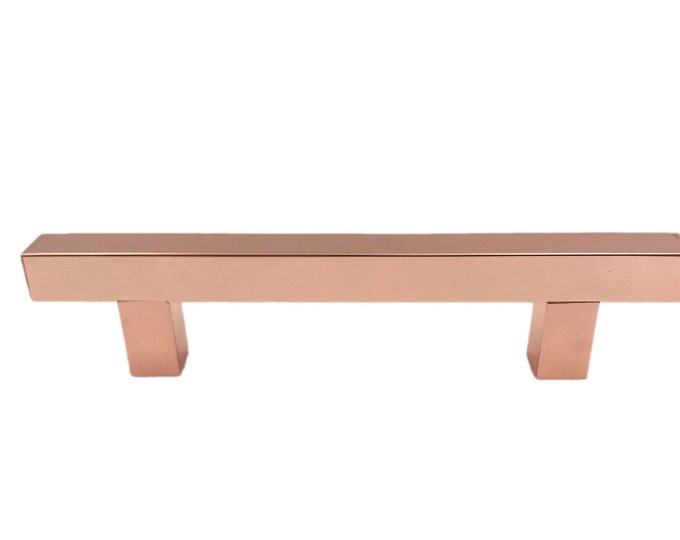 "Copper Squared Handle 3.75"" Drawer Handle, Cabinet Handle, Kitchen Drawer Pull"