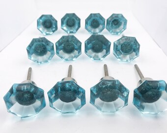 Blue Octagon Glass Decorative Dresser Drawer, Cabinet, Door or Furniture Knob Pull PACK OF 12 - G92bulk