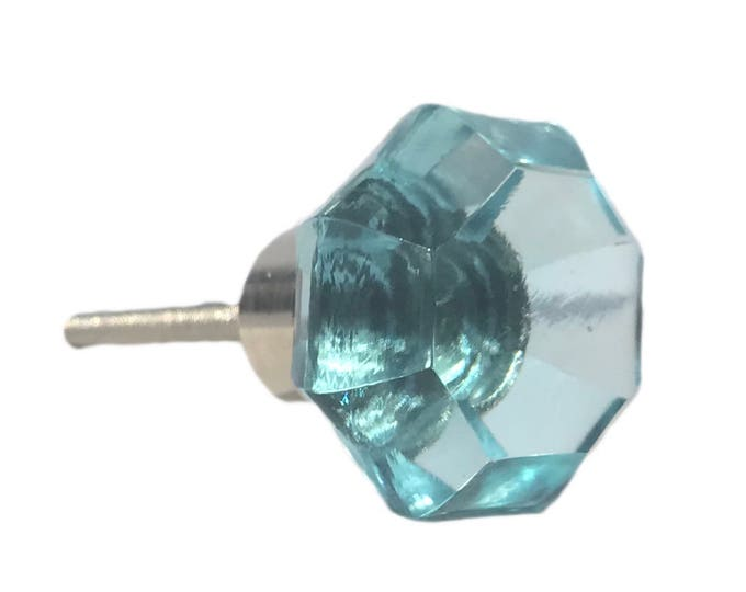 Blue Octagon Glass Decorative Dresser Drawer, Cabinet, Door or Furniture Knob Pull