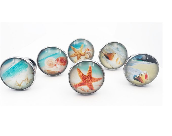 Tropical Beach Starfish Drawer Pulls, Cabinet Pulls, Dresser Knobs (W54) - Set of 6 Knobs
