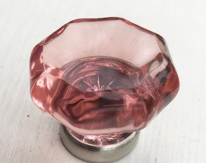 Pink Octagon Glass, Brushed Nickel Base Knob, Drawer Pull, Cabinet Pull