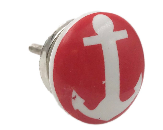 Nautical Boat Anchor Ceramic Knob Pull for Cabinets, Drawers or Doors