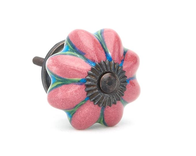 Pink, Blue, Green Flower Decorative Ceramic Dresser Drawer, Cabinet or Door Knob Pull