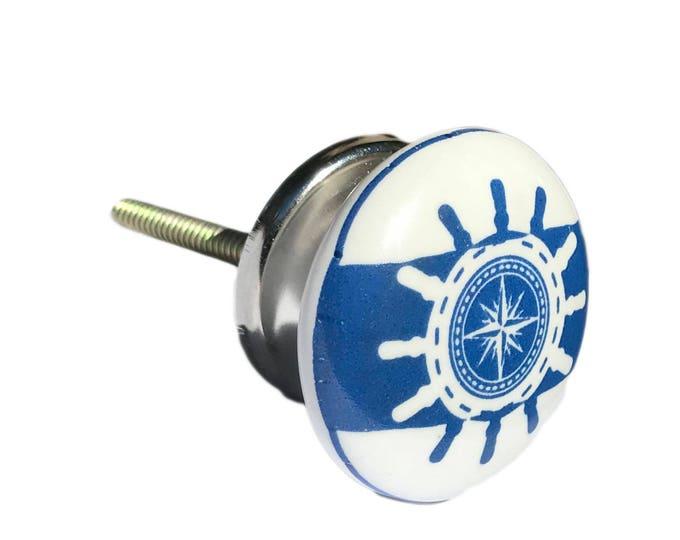 Helm, Ship Wheel, Nautical, Boat Slate Blue Flat Knob, Drawer Pull, Cabinet Pull, Dresser Knob