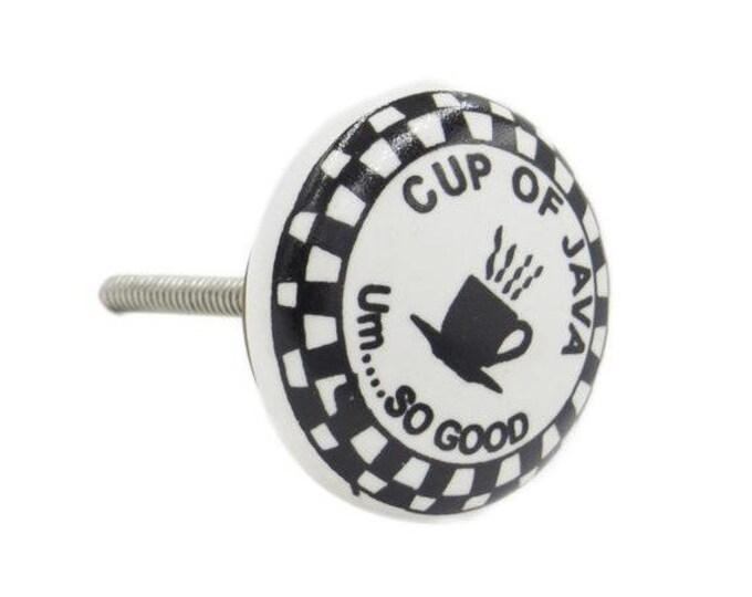 Tea Cup, Cup of Java Coffee Ceramic Decorative Knob Pull for Cabinets, Drawers or Doors