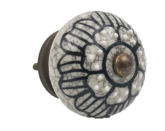 Gray Ceramic Floral Black Design Embossed Knob, Drawer Pull, Cabinet Pull, Dresser Knob - M37