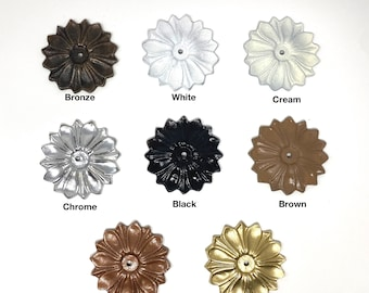 Back Plate Base (8 COLORS) Antique Solid Metal Flower Shaped Decorative for any Drawer or Door Knob or Pull