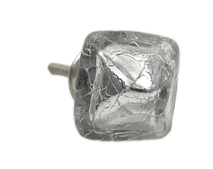 Silver Mercury Square Glass Crackle Knob Pull for Dresser, Drawer, Cabinet, Door