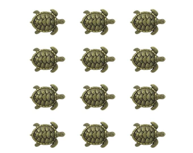 Turtles Metal Dresser Drawer, Cabinet Drawer or Door Knob Pull - 12 Pack