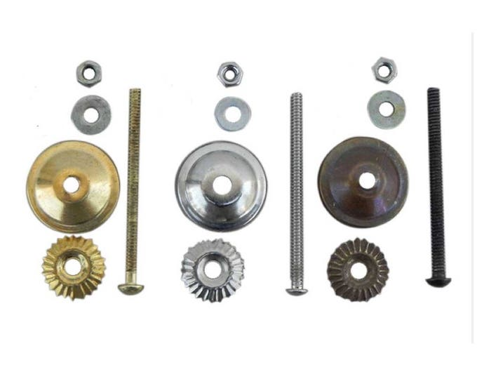 """Knob Bolts, Screws, Fittings for Ceramic & Glass Pulls, 2.5"""", 3"""" OR 3.5"""" bolt, Washers, Nuts, Metal Flower - Chrome, Bronze, Gold"""