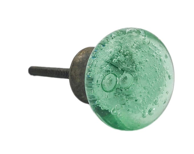 Green Glass Bubbles OIL BRONZED Round Dresser Knob, Cabinet or Drawer Knob - Pack of 12
