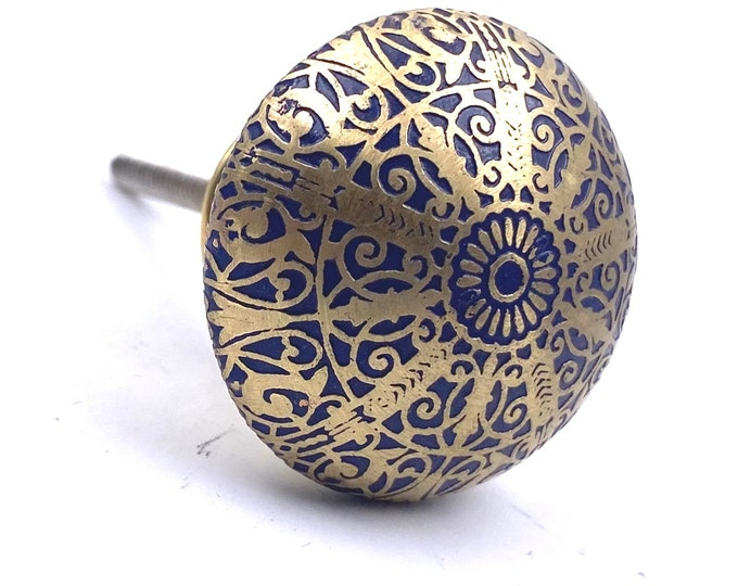 Brass Knob with Navy Blue Tones, Lightweight, Kitchen Drawer Cabinet Pull, Dresser Pull, Dresser Knob