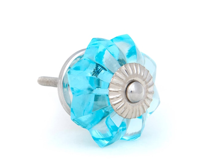 Turquoise Glass Kitchen Cabinet Pulls, Dresser Knobs with Polished Chrome Hardware - 12 Pack