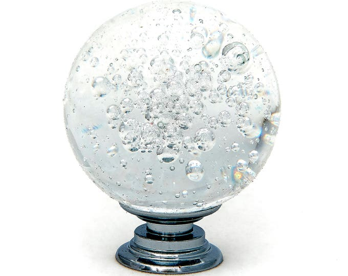 """Clear Bubble Crystal Glass 1.5"""", 40mm Round Knob, Drawer Pull, Cabinet Pull, Dresser Drawer Pull"""
