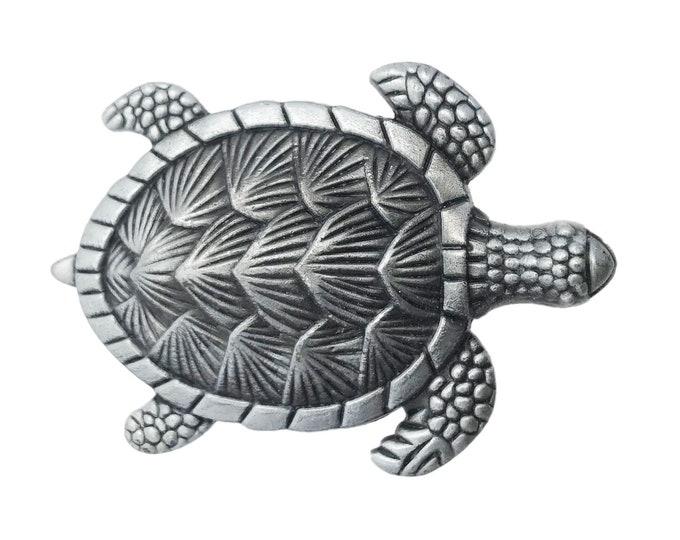 Turtle Pewter Metal Dresser Drawer, Cabinet Drawer or Door Knob Pull