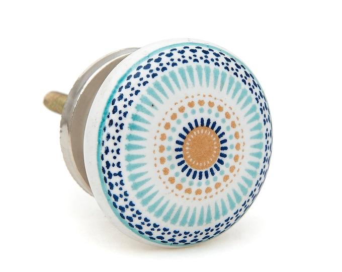 Vintage Round Multi Color Design dresser, cabinet ceramic pull, ceramic knob - Pack of 12