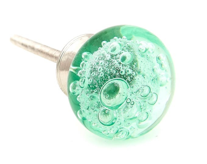 Green Glass Bubbles Round Dresser Knob, Cabinet or Drawer Knob, Brushed Nickel Base