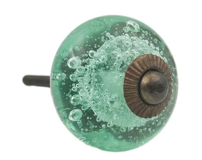 Green Glass Bubbles Round, Bronze Hardware Dresser Knob, Cabinet or Drawer Knob