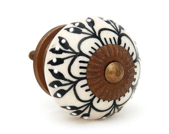 Black Zinnia Flower Embossed Dots Ceramic Knob Pull for Dressers, Cabinets, Drawers, Doors