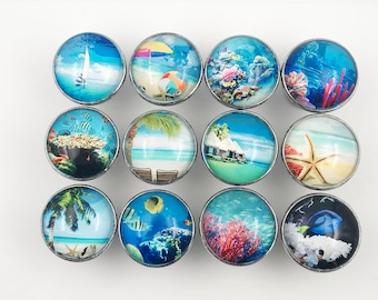 Tropical, Ocean, Fish, Nautical Decorative Glass Knobs - 12 Pack - W52