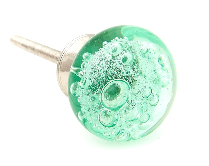 Green Glass Bubbles Brushed Nickel Round Dresser Knob, Cabinet or Drawer Knob - Pack of 12