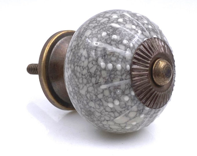 Gray Round Ceramic Knob, Drawer Pulls, Cabinet Pulls, Dresser Knobs