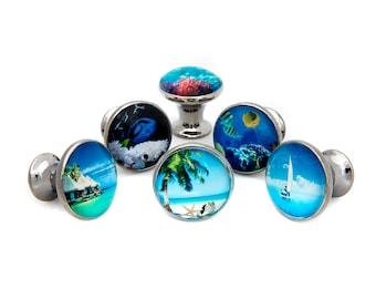 Tropical Ocean Beach Themed Drawer Pulls, Cabinet Pulls, Dresser Knobs - Set of 6 Knobs