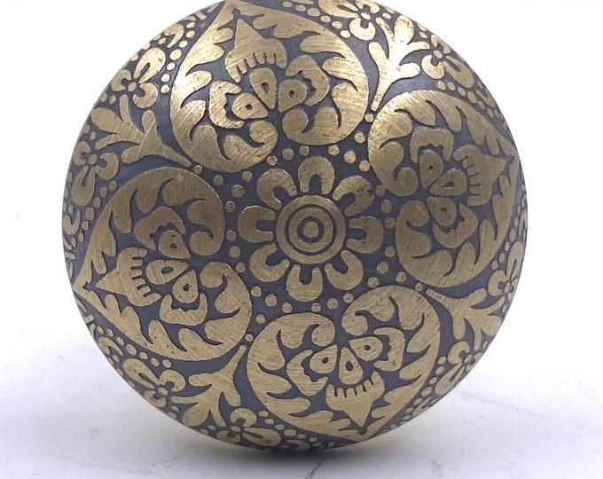 Brass Heart Knob with Gray Tones, Lightweight, Kitchen Drawer Cabinet Pull, Dresser Pull, Dresser Knob