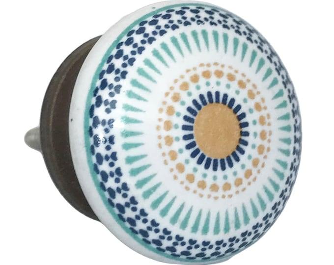 Vintage Round Multi Color Design dresser, cabinet drawer pull, ceramic pull, ceramic knob